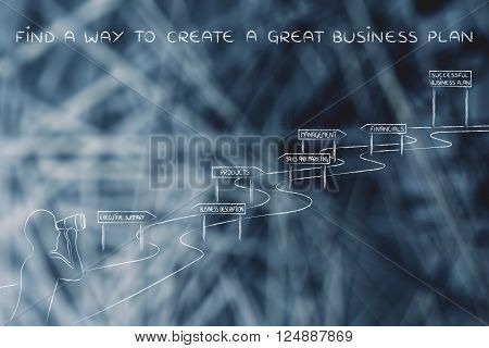 Man Looking At The Way To Success, Create A Great Business Plan
