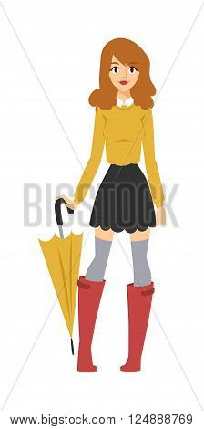 Pretty girl with umbrella, girl rubber boots with umbrella. Rainy water outdoor girl umbrella. Young girl with multicolored umbrella in nice fashionable clothes and red rubber boots character vector.