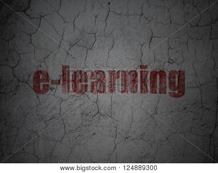 Learning concept: E-learning on grunge wall background