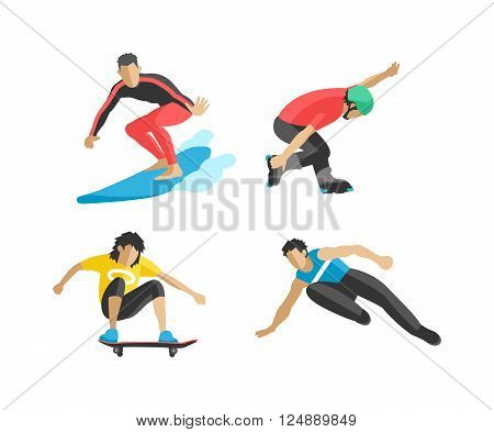 Extreme sport athletes silhouettes and extreme athletes silhouettes activity.
