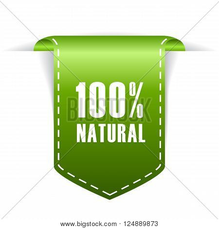 100 natural label isolated on white background
