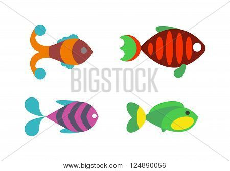 Underwater aquarium fish and marine aquarium fish. vector.