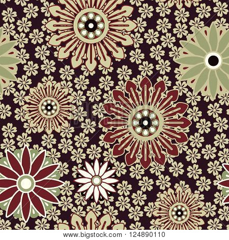 art vintage stylized geometric flowers seamless pattern, colored background with brown and green colors