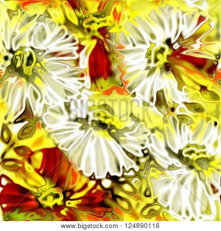 art vintage stylized flowers pattern, colored background in yellow gold, red, orange and white colors