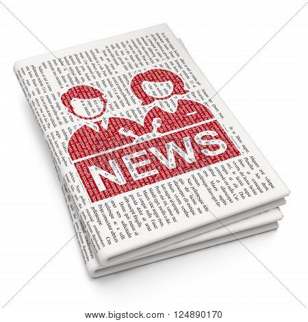News concept: Anchorman on Newspaper background