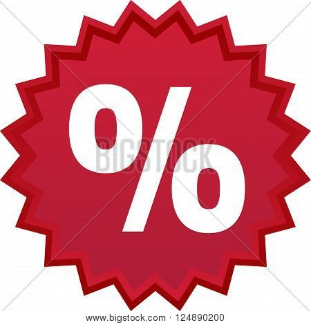 Red discount symbol star with percentage inside