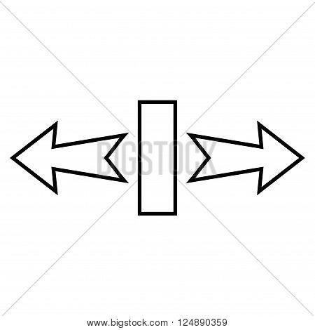 Stretch Arrows Horizontally vector icon. Style is thin line icon symbol, black color, white background.