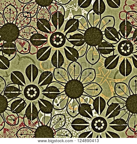 art vintage naive stylized geometric flowers colored seamless pattern, background in olive, red, white and black colors