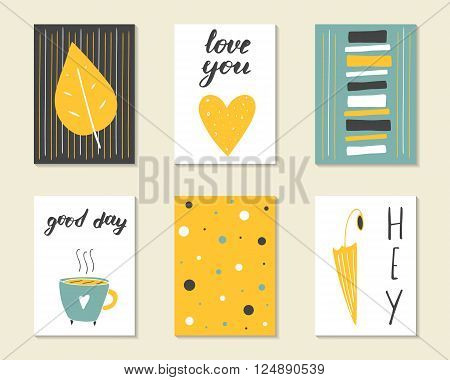 Cute hand drawn doodle birthday party baby shower cards brochures invitations with heart cup umbrella leaf stripe. Cartoon objects background.