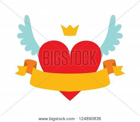 Heart logo with crown, wings and heart logo graphic design. Heart logo romantic fairytale concept. Red heart logo abstract with crown, wings and yellow ribbon for your text flat vector illustration.