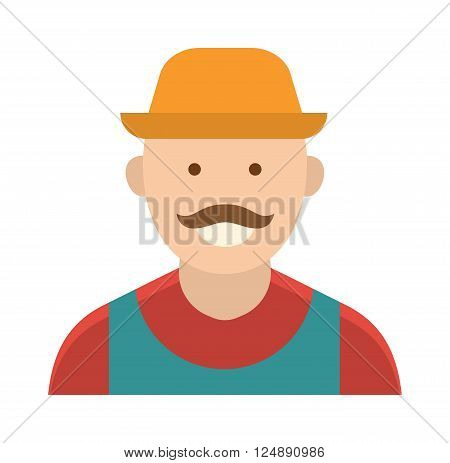 Harvest country farmer and organic healthy farmer. Standing people worker farmer business agricultural natural industry. Funny farmer with mustache character in straw hat farming food person vector.