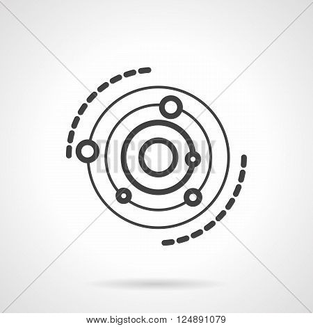Planets and orbits. Research models in astronomy and physics. Education and science theme. Astrology symbols. Simple black line vector icon. Single element for web design, mobile app.
