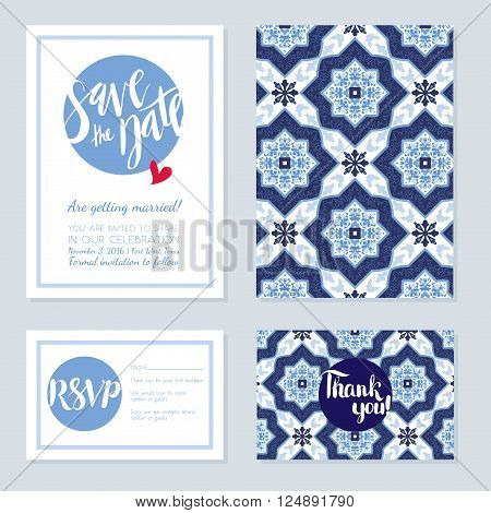 Antique vintage card wedding azulejos in Portuguese tiles style. Blue pattern for invitations greeting cards happy birthday save the date rsvp thank you Portuguese weddings.