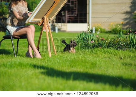 small dog and girl painter on the green lawn of the house. puppy dog runs on the grass. Woman at the easel painting. Focus on the dog. Summer day on outdoors.
