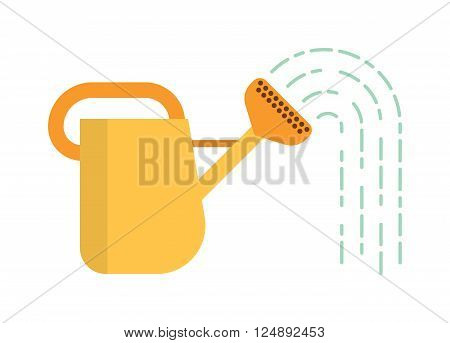 Yellow watering can, spring gardening watering can. Summer gardening agriculture watering organic flora. Watering can with water summer garden tool equipment metal irrigation flat vector illustration.