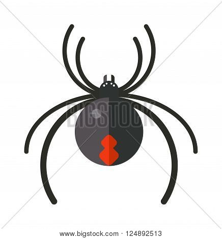 Spider silhouette arachnid fear graphic and spider flat silhouette scary, animal poisonous design. Spider silhouette nature phobia. Spider insect danger silhouette vector icon.