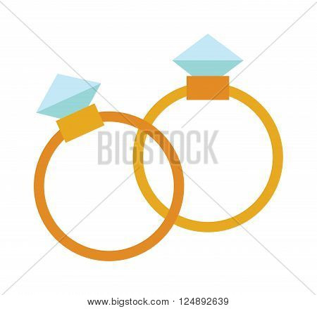 Precious rings with stone colored gems isolated on white background. Vector wedding rings icon. Flat design precious ring. Precious ring isolated. Isolated wedding rings jewelry. Wedding rings icons