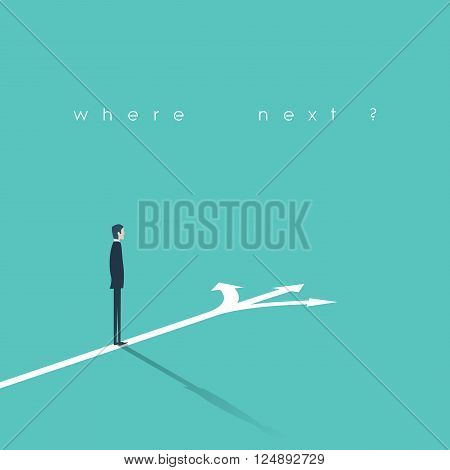 Business decision concept vector illustration. Businessman standing on the crossroads with three arrows and directions. Eps10 vector illustration.