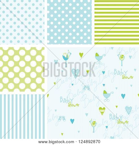 Set of baby shower patterns - swatches