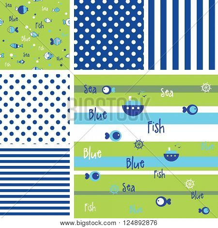 Set of Blue fish pattern