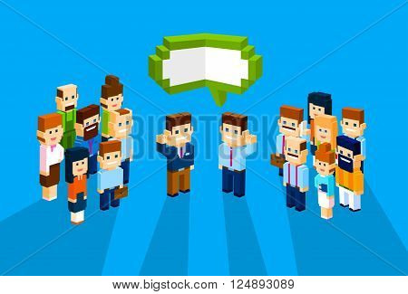 Business People Group Chat Communication Bubble Concept, Businesspeople Talking Discussing 3d Isometric Flat Design Vector Illustration
