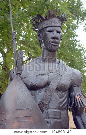 VICTORIA FALLS ZIMBABWE OCT 16 2014 :Ndebele warrior steel statue, Ndebele people amaNdebele are a Bantu nation and ethnic group in Southern Africa