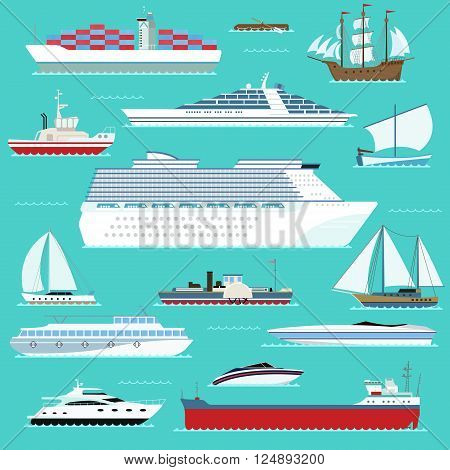 Ship, boat, vessel, warship, cargo ship, cruise ship, yacht, wherry, hovercraft. Water ship transport sea boat. Super set of water ships carriage maritime transport in modern flat design vector style.