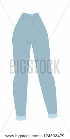 Elegant cotton women's jeans and classic women's blue jeans. Female fabric clothes and vintage women's jeans casual pants. Blue denim women's jeans glamour clothing style vector illustration.