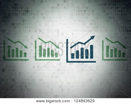 Finance concept: growth graph icon on Digital Paper background