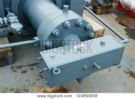 part of  large hydraulic cylinder prepared for installation
