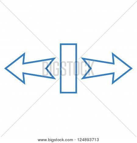 Stretch Arrows Horizontally vector icon. Style is thin line icon symbol, cobalt color, white background.
