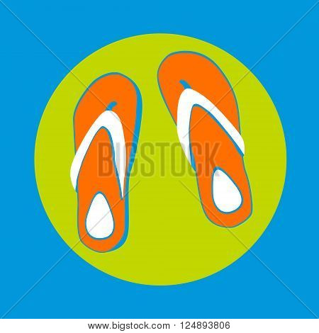 Flip Flops Icon Summer Slippers Foot Wear Flat Vector Illustration