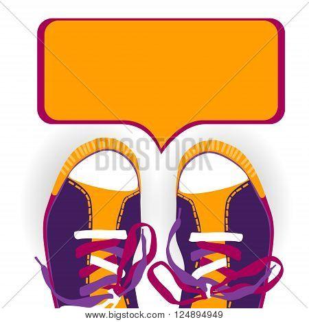 Colorful Training Sport Shoes Foot Wear With Chat Box Flat Vector Illustration