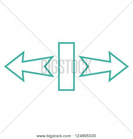 Stretch Arrows Horizontally vector icon. Style is contour icon symbol, cyan color, white background.