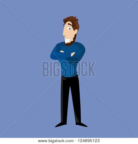 Bearded Business Man Folded Hands Businessman Full Length Smile Flat Vector Illustration