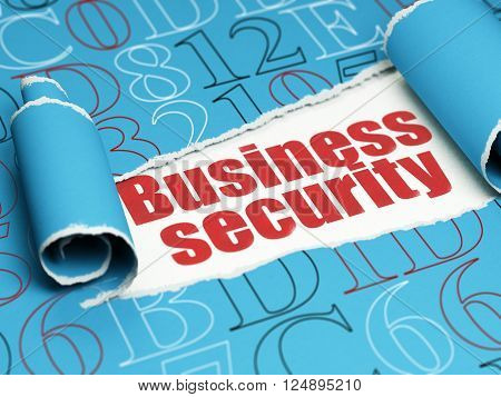 Security concept: red text Business Security under the piece of  torn paper