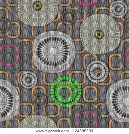 art vintage naive stylized geometric flowers seamless pattern, colored knitted background