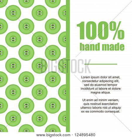 Flat design hand made card background with green clothing buttons and threads.