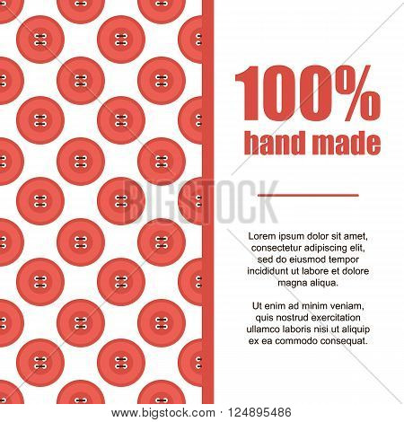 Flat design hand made card background with red clothing buttons and threads.