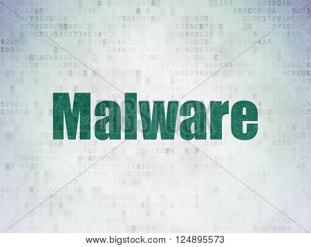 Safety concept: Malware on Digital Paper background