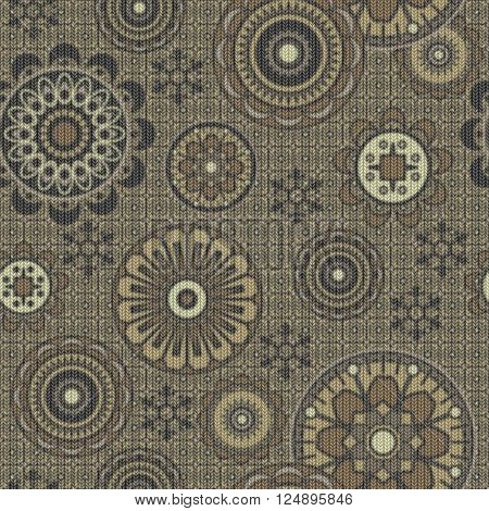 art vintage stylized geometric flowers seamless pattern, monochrome knitted background with olive grey color