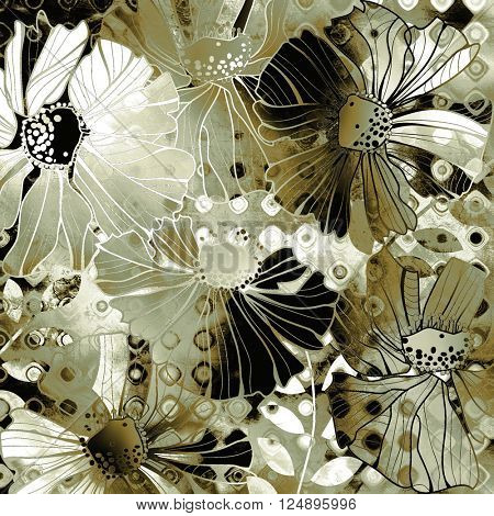 art vintage stylized flowers pattern, monochrome background in old gold, white, black and bronze colors