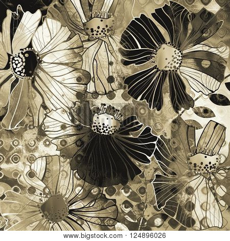 art vintage stylized flowers pattern, monochrome background in white, black and brown colors