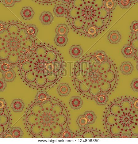 art vintage naive stylized geometric flowers colored seamless pattern, background in old gold, red and orange colors