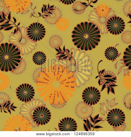 art vintage naive stylized geometric flowers colored seamless pattern, background in old gold, red, orange and black colors