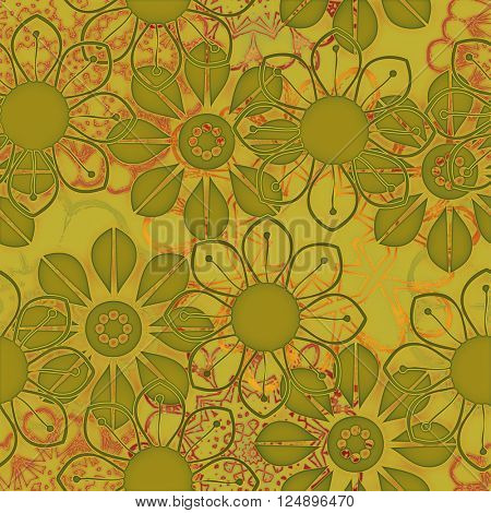 art vintage naive stylized geometric flowers colored seamless pattern, background in old gold, red and olive colors