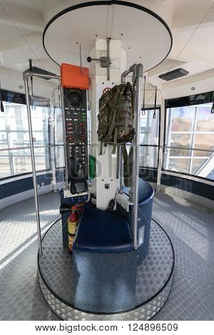 Malcesine, Italy - January 18, 2016: Cabin of the cableway Malcesine - Mount Baldo stop at the top station.