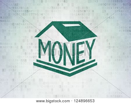 Money concept: Money Box on Digital Paper background