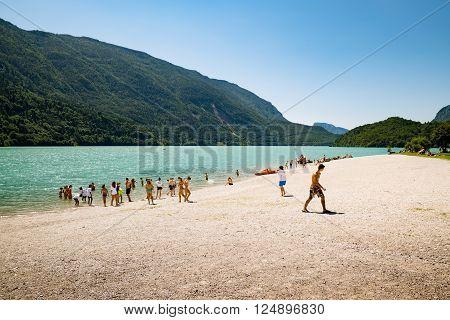 Molveno, Italy - July 10, 2015: Lake Molveno, elected most beautiful lake in Italy in 2015