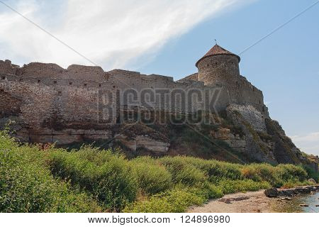 Belgorod-Dniester, Ukraine - August 26, 2015: Tower and walls of an ancient fortress